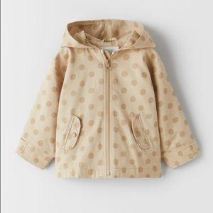NWT Zara 18-24m polka dot beige parka